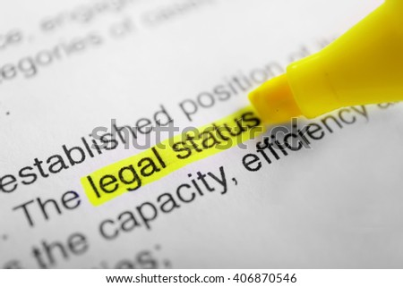Words Legal status highlighted with a yellow marker - stock photo