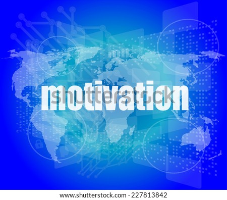 words motivation on digital screen, job and business concept - stock photo