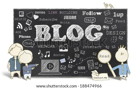 Words of Social Media and Blogging on Blackboard - stock photo