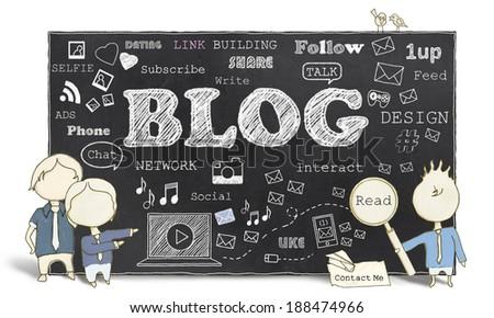 Words of Social Media and Blogging on Blackboard - stock photo