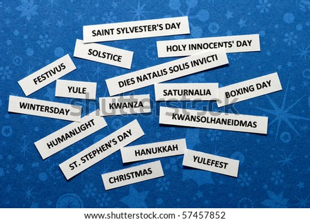 Words on paper scraps about winter holidays - stock photo