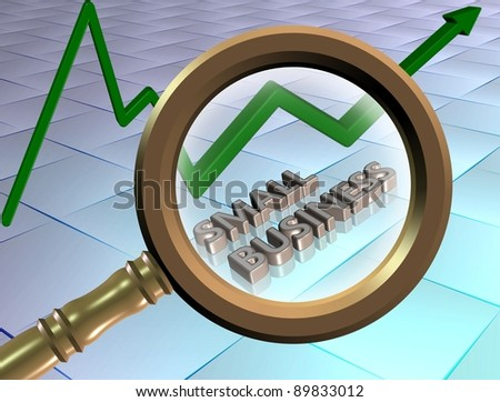 Words spelled small business looked through a magnifying glass / Small business - stock photo