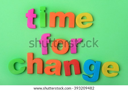 Words Time for change on green background