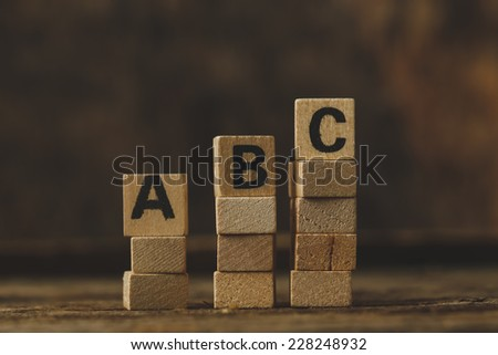 Words. Toy bricks on the table - stock photo