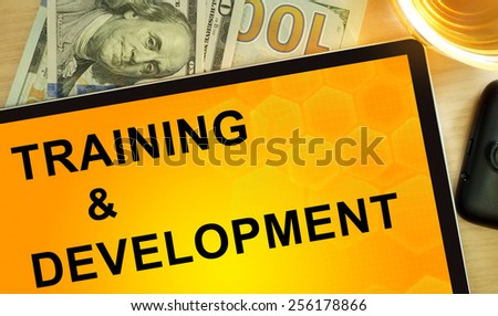 Words Training & Development  on tablet. Business concept.