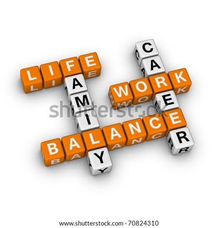 Work and Life Balance (3D crossword orange series) - stock photo