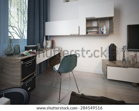 Work area in the room, modern style. 3d render