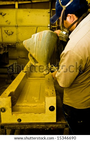 Work at the masonry factory, production of building materials.