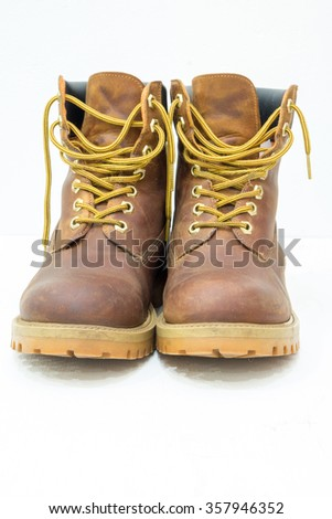 work boots on isolated background