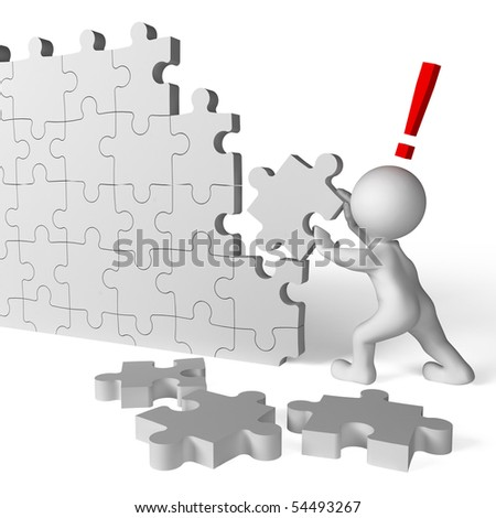 work building a puzzle isolated over a white - stock photo