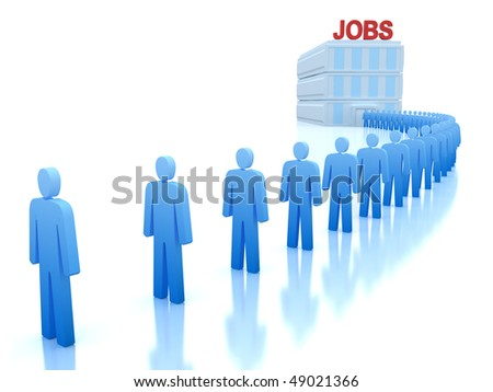 Work Centre : The unemployed looking for a job - stock photo