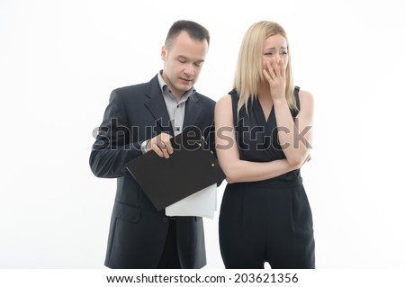 Work Colleagues arguing, woman crying, isolated on white background - stock photo