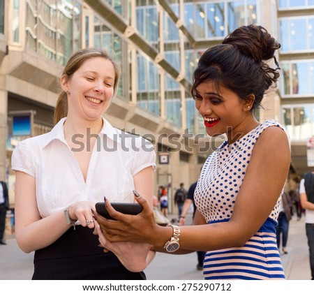 work colleagues in the street - stock photo
