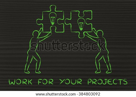 work for your projects: people about to match two pieces of puzzle with lightbulb sign - stock photo