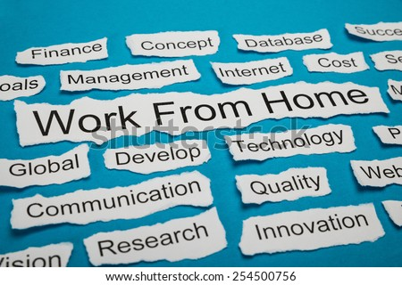 Work From Home Text On Piece Of Paper Salient Among Other Related Keywords - stock photo