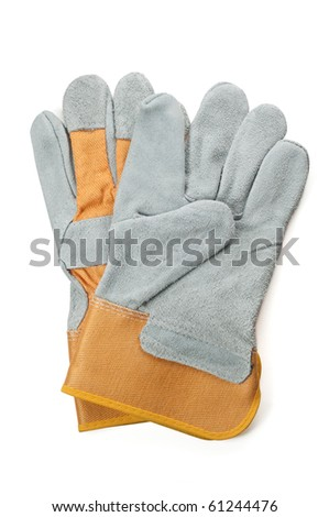 Work gloves isolated on white - stock photo