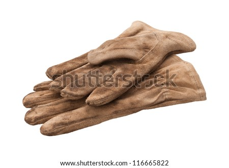 Work Gloves Isolated with clipping path on a white background - stock photo