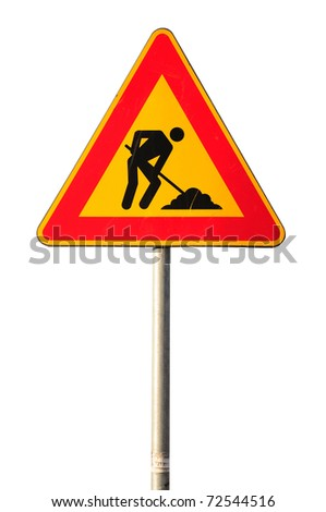 Work in progress road sign isolated on white background - stock photo