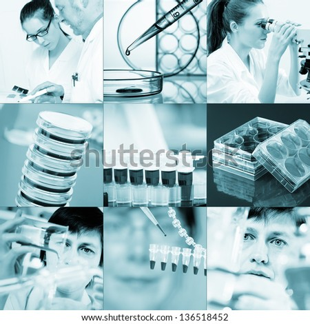 Work in the microbiology laboratory, medical research set - stock photo