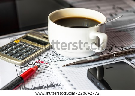 Work in the stock market, time a break, drink a coffee - stock photo