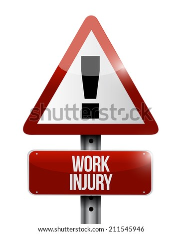 work injury warning sign illustration design over a white background - stock photo