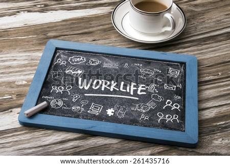 work life concept hand-drawing on blackboard - stock photo
