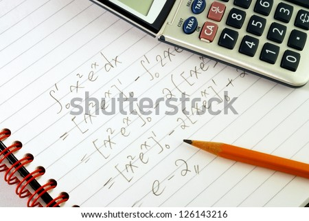 Work on a mathematics question concepts of education and knowledge - stock photo