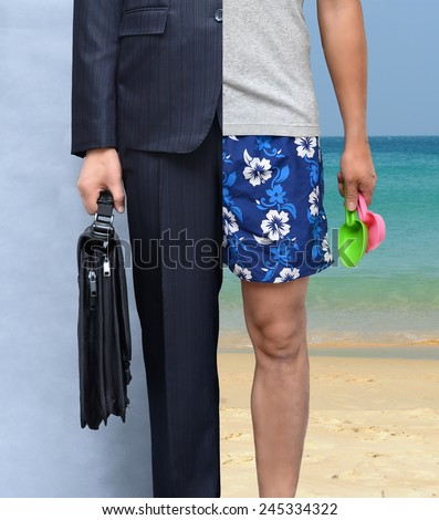Work or holiday (stress or relaxation concept) - stock photo