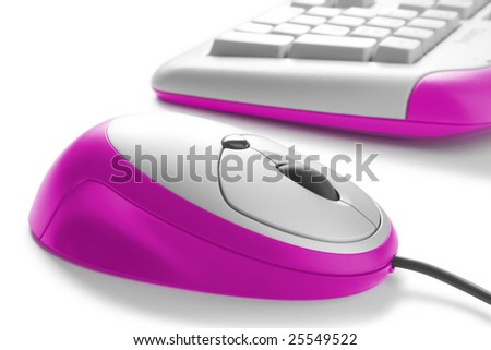 work place. modern computer mouse and keyboard - stock photo