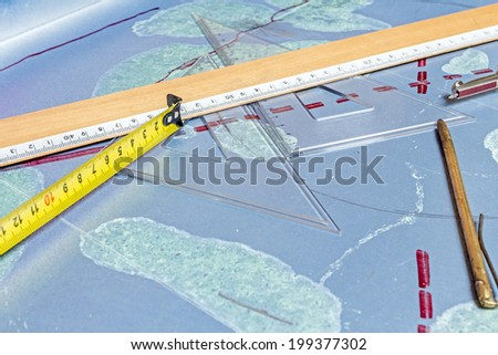 Work place of a future architect in action, work shop - stock photo