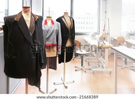 work place with sew manikins - stock photo
