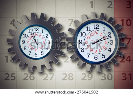 Work schedule business organization planning concept with a clock shaped as a gear or cog wheel and calendar icons as a stress metaphor for time management for a busy work and family life. - stock photo