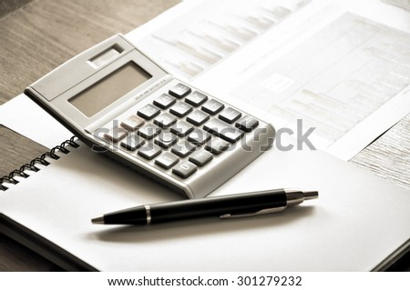 work table with vintage style - stock photo