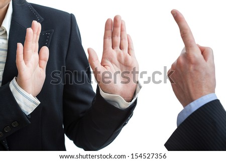 work threats in office ruining the good atmospthere and relations between two partners - stock photo