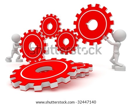 work together - stock photo