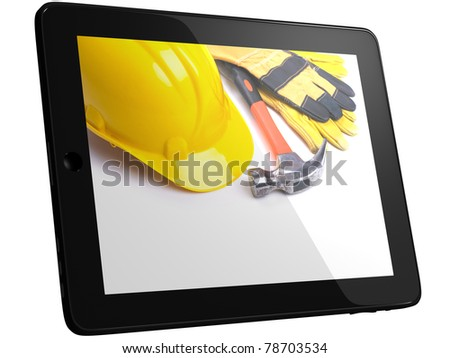 Work Tools And Equipment On Tablet Computer Screen - stock photo