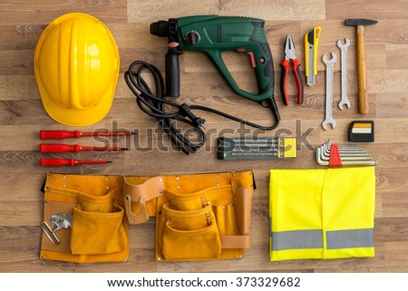 work tools top view background