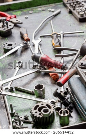 work tools used in a machine shop  - stock photo