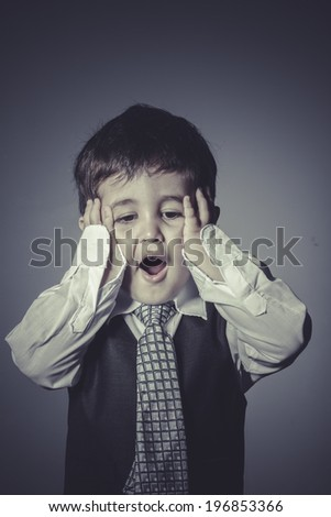 workaholic boy in suit and tie, Business concept - stock photo