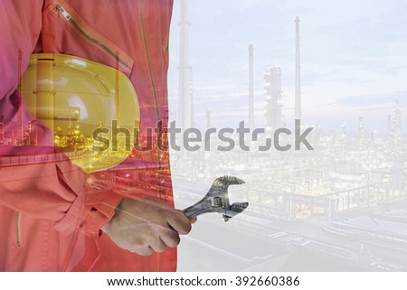 worker and oil rig double exposure concept