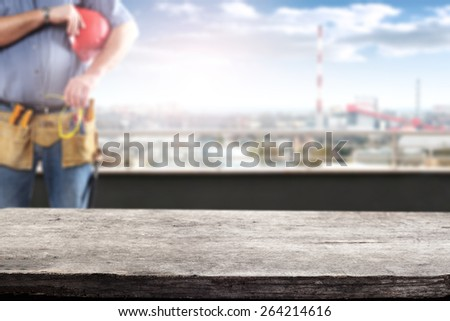 worker and red hat  - stock photo