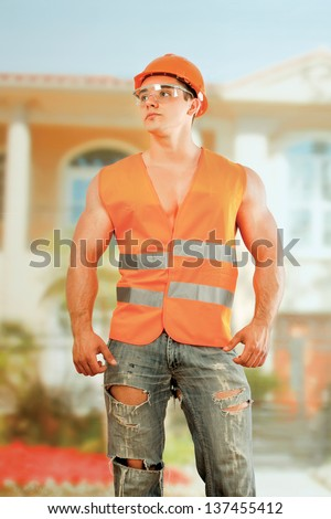 Worker Bodybuilder - stock photo