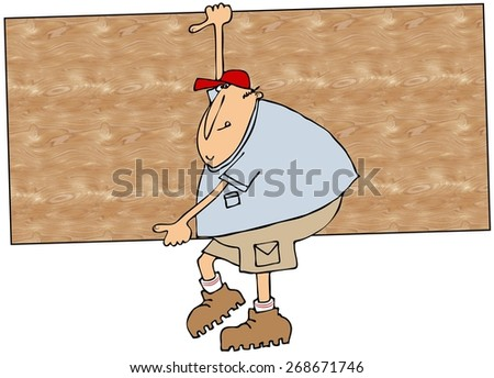 Worker carrying plywood - stock photo
