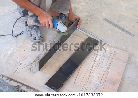 Worker Cutting Floor Tiles Angle Grinder Stock Photo 100 Legal