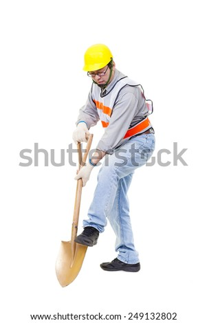Worker digging with  shovel isolated on white - stock photo