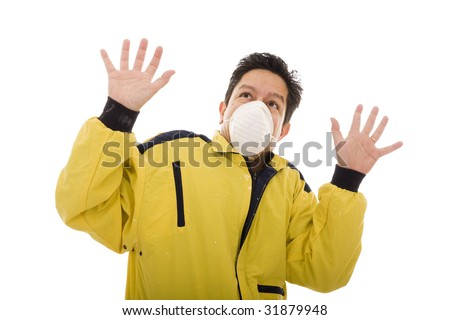 Worker doing a panic expression isolated on white - stock photo