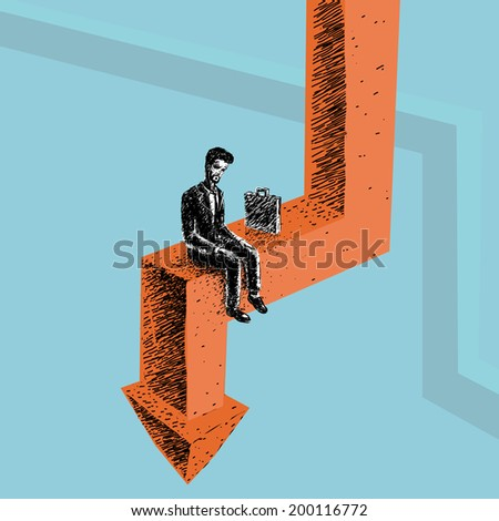 Worker during the crisis out of work on the arrow - stock photo