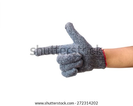 worker gloved hand pushing isolated on white background - stock photo