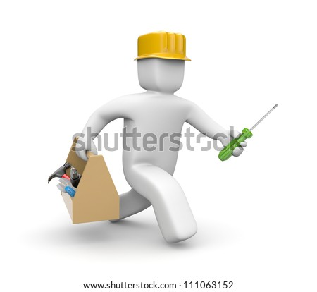 Worker hasten to help - stock photo
