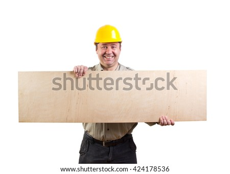 worker holding a plywood, clipping paths included - stock photo